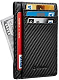 Chelmon Slim Wallet RFID Front Pocket Wallet Minimalist Secure Thin Credit Card Holder (01 carbon leather black)