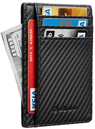 - Chelmon Slim Wallet RFID Front Pocket Wallet Minimalist Secure Thin Credit Card Holder (01 carbon leather black)