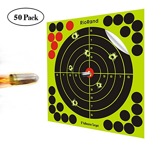 Shooting Targets 8 Inch 50 Pack Splatter Targets Self Adhesive Paper Reactive Target Stickers for Gun Rifle Pistol Bb Gun AirSoft Pellet Gun Air Rifle