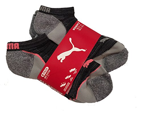 Puma Women's No Show Athletic Socks, Pack of 6, Grey and Pink, Sock Size: 9-11, Shoe Size: 5-9.5