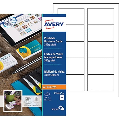 Avery 250 Cartes De Visite Bords Microperfores 185g