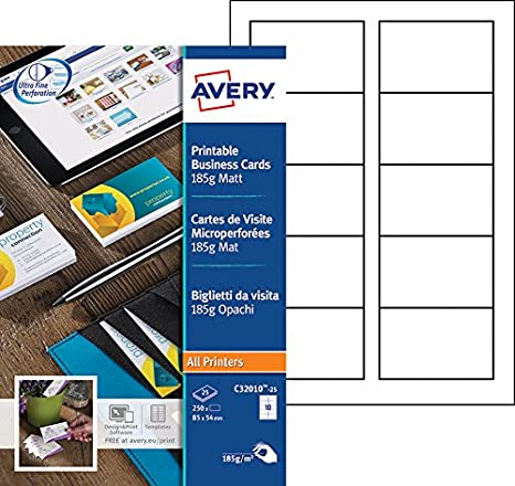 Avery 250 Cartes De Visite A Bords Microperforees 185g