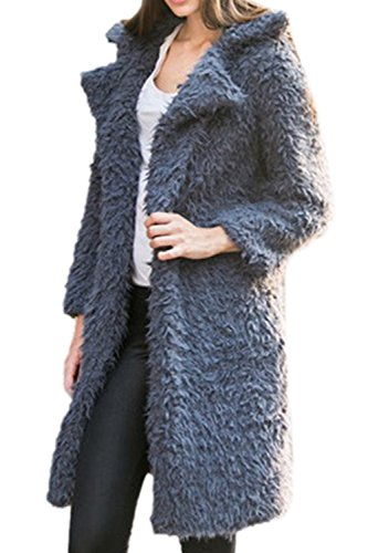 Frente Calientes Capa Externa De Largo Abierto Superior Grey Cardigan Lana Invierno Collar Mujeres Oversize ZqdRPfPw