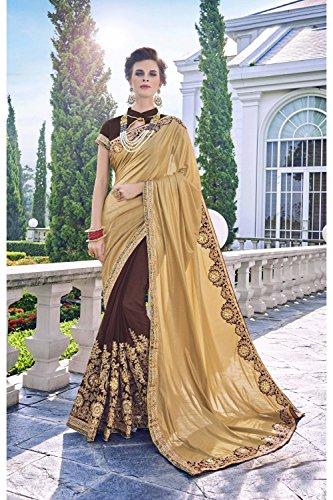 Da Facioun Saris Indiens Pour Les Femmes Portent Partie Design Ethnique De Mariage Sari Traditionnel D'or, Brun 103