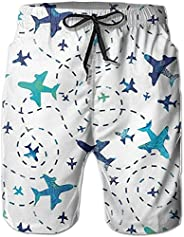 Men's Swim Trunks Quick Dry with Pockets,Fun Airplanes on White Sky Beach Shorts Bathing Suit Swim