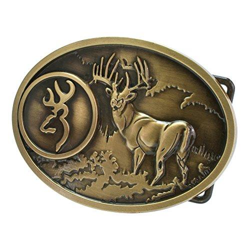 Rebel Flag Belt Buckle (Buckle Rage Adult Unisex Buck Hunter Whitetail Deer Emblem Belt Buckle)