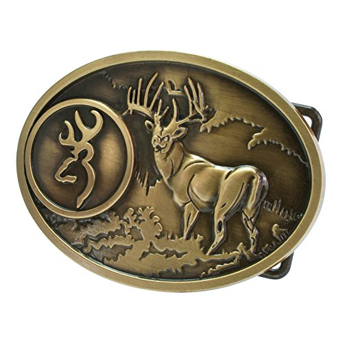 Buckle Rage Adult Unisex Buck Hunter Whitetail Deer Emblem Belt Buckle Bronze (Deer Emblem)