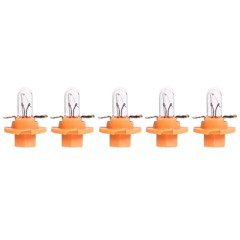 Seawang 5pcs T5 B8.4D Dashboard Car Bulbs Halogen Car Gauge Bulbs for Interior Dash Instrument Light