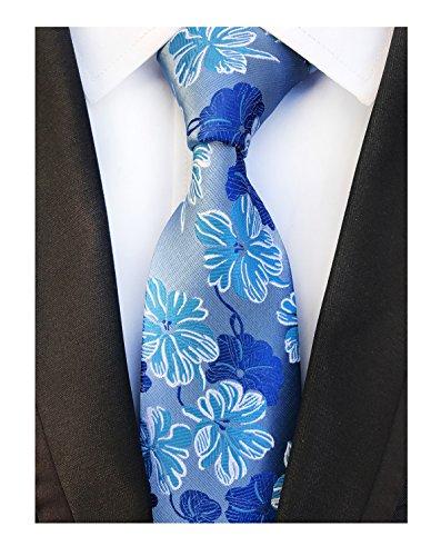 Motif Silk Mens Tie - Men's Light Blue Royyl Woven Silk Ties Business Evening Neckties Special Events