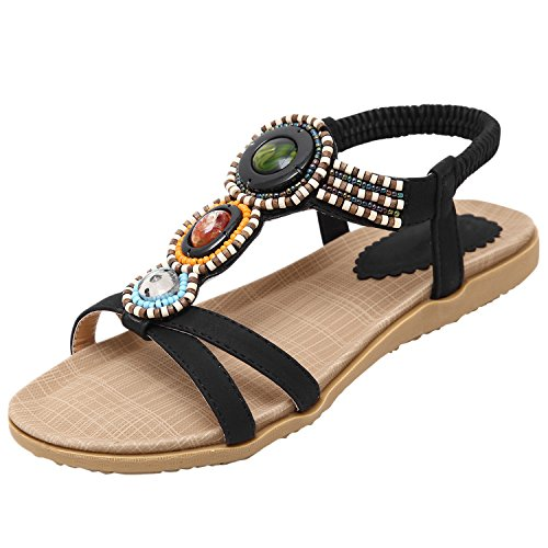 Azbro Women's Summer Rhinestone Bead Slip On Thong Flat Sandals, Black EURO38/US6.5/UK4.5