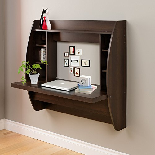 Erfect Wall Mounted Computer Desk Floating Desk With Storage Office Desk Shelf (Brown)