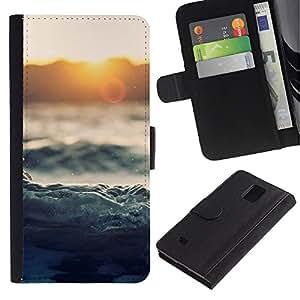 Planetar® Modelo colorido cuero carpeta tirón caso cubierta piel Holster Funda protección Para Samsung Galaxy Note 4 IV / SM-N910 ( Waves Sunset Sea Ocean Horizon Magical )