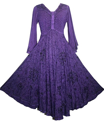 206 DR Agan Traders Medieval Bell Sleeve Dress [Purple; X...