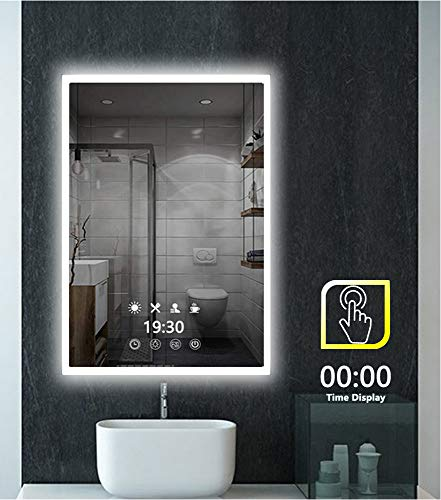 Time Display Led Lighted Bathroom Mirror - 32 x 24 inch Modern -