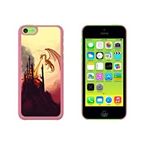 Dragon Flying Fire Breathing - Castle Fantasy Snap On Hard Protective Case for Apple iPhone 6 4.7 - Pink WANGJING JINDA