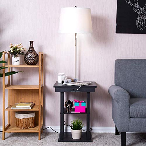 Costzon Floor Lamp, Swing Arm Lamp w/Shade Built in End Table Includes 2 USB Ports (White ()