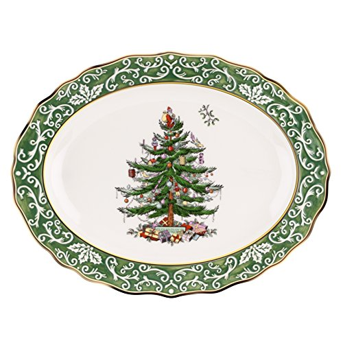 Spode Christmas Tree Embossed Platter, Large, Gold