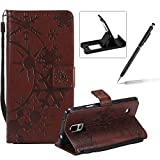 Strap Leather Case for Samsung Galaxy Note 4,Wallet Leather Case for Samsung Galaxy Note 4,Herzzer Premium Stylish Creative Brown Art Painted Magnetic Bookstyle Flip Portable Stand Case with Soft Rubber Card Holder Slots