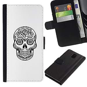 iKiki Tech / Cartera Funda Carcasa - Death Skull Black White Ink Metal - Samsung Galaxy Note 3 III N9000 N9002 N9005