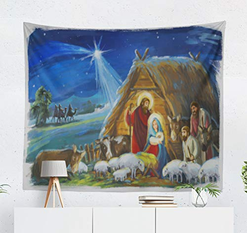 (threetothree 50x60 Inches Tapestry Wall Hanging Interior Decorative Religious Three and Family Traditional Scene with Sheep Children Birth Christ for Bedroom Living Room Tablecloth Dorm)