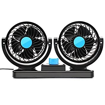 Dual Heads Car fan 12V Vehicle Fans by Warrior - 360 Degree Rotation 2 Speed Adjustable Strong Wind - Ventilation Dashboard Electric Fans - Quickly Blow Away Hot Air Smoke Smell Bad Odors (Car fan)