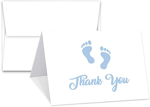 Blank on The Inside Baby Boy Blue Footprint Thank You Cards With Envelopes 4.25 x 5.5 Inches When folded Value Pack of 25 Cards /& Envelopes Baby Shower Gifts