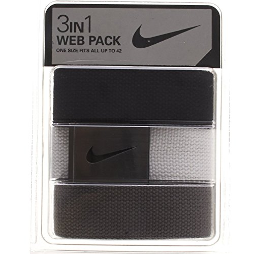 Nike Sport One Size Fits All Swoosh Buckle Web Belt 3 Pack (3 Buckle)