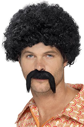Black Disco Costumes Wig (Smiffy's Men's 70's Disco Dirt bag Kit, Tight Afro and Moustache, One Size, Colour: Black, 43664)