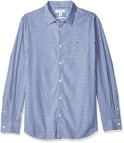 Calvin Klein Men's Cotton Cashmere Button Down Shirt, Ocean Breeze, Small