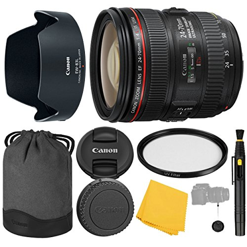 Canon EF 24-70mm f/4.0L IS USM Lens + UV Filter + Collapsible Rubber Lens Hood + Lens Cleaning Pen + Lens Cap Keeper + Cleaning Cloth - 24-70mm IS USM (L): International Version (No Warranty) (Best Price Canon 24 70mm L Lens)