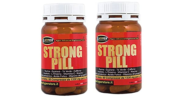 estimulante la energía | 2 paquetes de STRONG PILL 60 tabletas | formulación: La cafeína del té verde Taurina Tirosina Guaraná vitamina C inositol | Tónica ...
