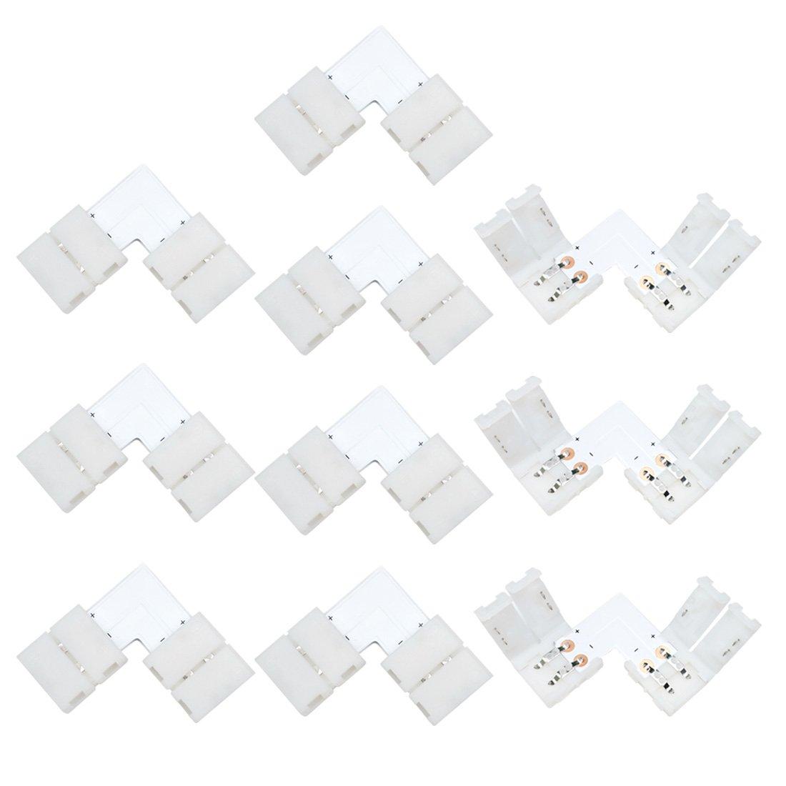 Liwinting 10pcs 2pin L Shape sans soudure Snap down Connecteur de bande LED à 2 broches pour coin angle droit ou 90 angle Tournage Connexion de 10mm Wide SMD 5050 5630 Simple couleur Flex LED Strips, blanc ULC 20