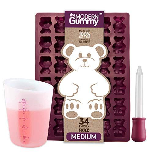 (MEDIUM size GUMMY BEAR Mold with BONUS Pinch & Pour Cup + Dropper - by the Modern Gummy; Gelatin GUMMY Recipe on Package & FULL RECIPE PDF via EMAIL, PROFESSIONAL GRADE PURE LFGB SILICONE)