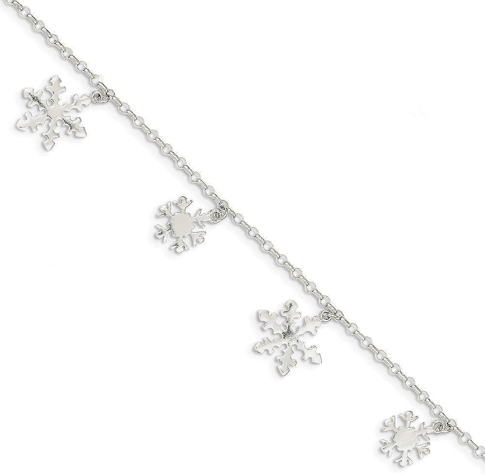 Solid Sacramento Mall 925 Sterling Silver Diamond-Cut with - Bracelet Snowflake shop