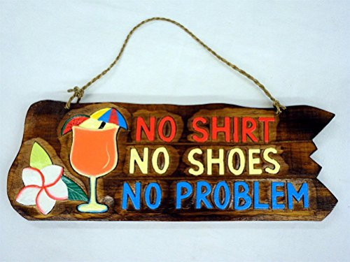 Tropical Tiki Wood (No Shirt No Shoes No Problem Wood Sign - Tropical Drink and Flower Accent - 15