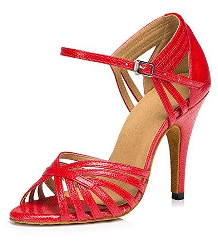 mujer Red Zapatos Heel 10cm tacón TDA con qxHp7F7w