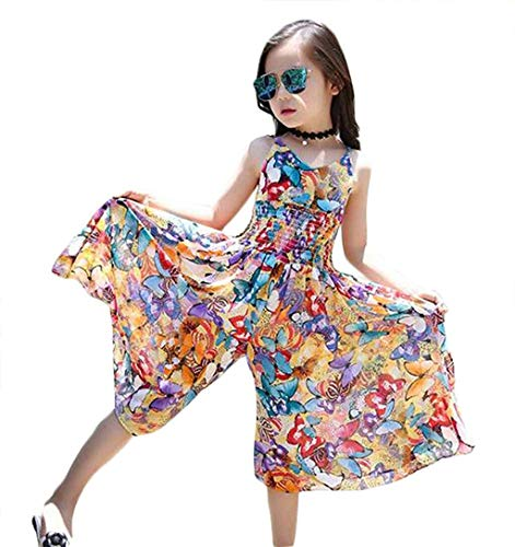 - Little Girl's Summer Cute Floral Sleeveless Straps Jumpsuit Beach Boho Dress (6-7T/Tag 140, Yellow)