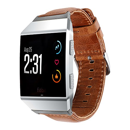 Fitbit Ionic Smart Watch Band Calf Leather BandS Replacement Strap Sport Smartwatch Super Soft Brown Men Women