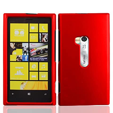Nokia Lumia 920 case, Luckiefind Premium Snap On Plastic Rubberized Cover Case (Red) (Cover Case Nokia Lumia 920)