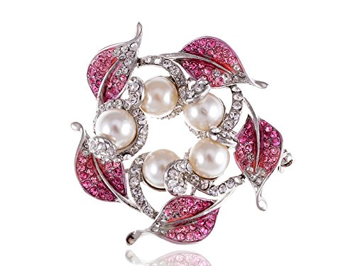 Alilang Rose Pink Faux Cream Pearl Leaf Wreath Swarovski Crystal Rhinestone Pin - Wreath Swarovski