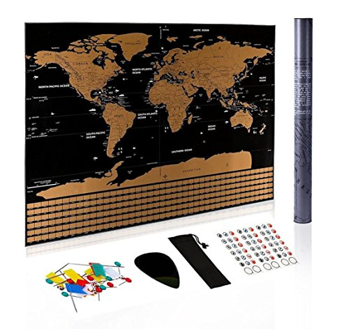 Scratch Off Map Poster–Includes Complete Accessories Set & All Country Flags.Scratch Off World Map with US States and Canada State.Creative Travel Gift Matte Black Design Large Size 32.5 x 23.5