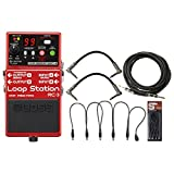 Boss RC 3 Loop Station Guitar Effects Pedal Bundle w/ Power Cable and 3 Guitar Cables