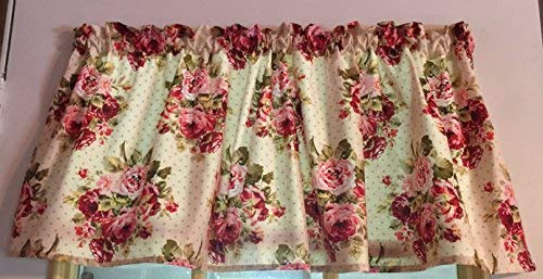 (Cranberry Shabby Chic Cottage Roses and Dots Cotton Window Curtain Valance handmade 42