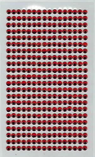[DECO FAIRY] 352pcs Bling 4mm Multicolor Sheet Diamond Crystal Rhinestone Gem Self Adhesive Stickers (red)