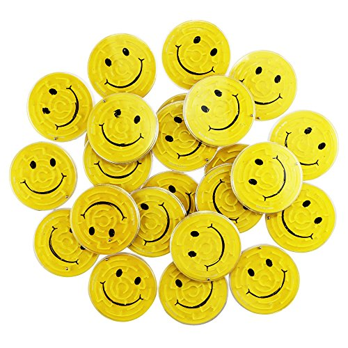 Yexpress Fun-Filled Yellow Mini Smiley Maze Puzzles Party Favours, Plastic, 2 3/4