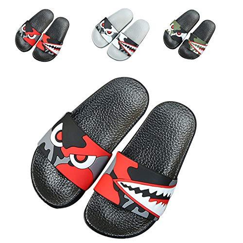 JACKSHIBO Boys Girls Slide Sandals, Outdoor Indoor Sandals Beach Water Flip Flop 66616-black Red 10 Little Kid