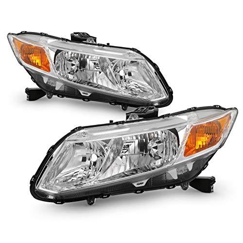 - Fits 2012-2015 Honda Civic 4Door Sedan 12-13 Civic 2Door Coupe Headlights Headlamp Left+Right Pair