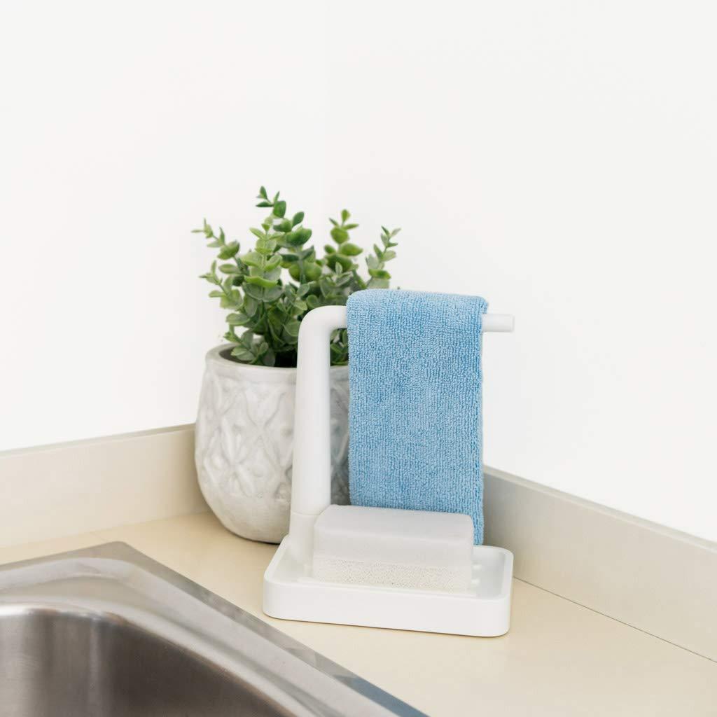 Balvi Set limpiavajillas Minim Color Blanco con Soporte para Trapo con Esponja con topes Antideslizantes Pl/ástico ABS
