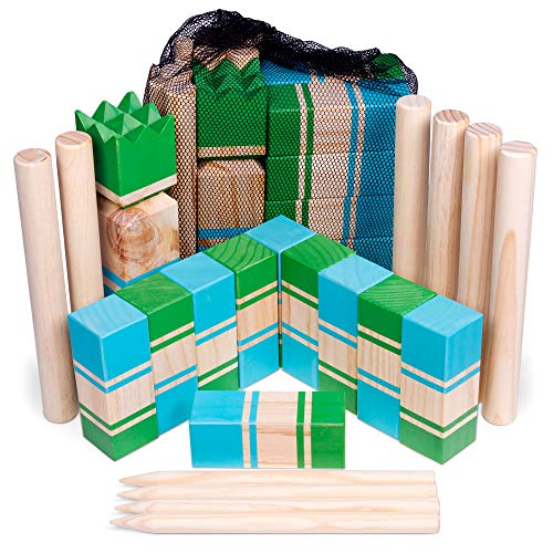 Kubb | Portable Viking Lawn Game for Adults and Kids | Unique, Traditional Family Game | Premium Wooden Tossing Game Set for Outdoor Parties, Cookouts, Yard Activities | Includes Free Mesh Carry Bag ()
