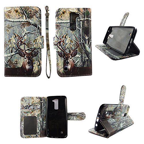 Camo Tail Deer Wallet Folio Case for LG K7 Treasure Dual Layer Interior Design Flip PU Leather Cover Card Cash Slots & Stand (Lg Flip Phone Cases Camo)